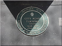 TQ3282 : Plaque marking the site of the City Road Turnpike by Oxyman