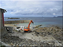 SW3526 : Preparing for the new lifeboat at Sennen Cove by Chris Allen
