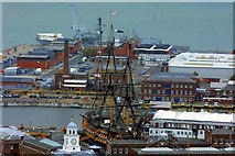SU6200 : HMS Victory from the Spinnaker Tower at Portsmouth by Steve Daniels