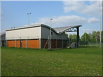 SU6252 : North Hants FA - football grandstand by Given Up