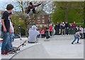 SY6890 : Dorchester Skate Park Flying High by Nigel Mykura
