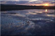 HP6312 : Haroldswick pool at sunset by Mike Pennington