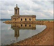 SK9306 : Normanton Church, Rutland water by Steve  Fareham