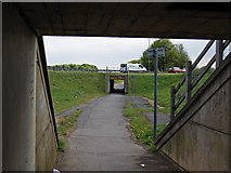 NZ5619 : Footpath through Greystones Roundabout by Stephen McCulloch