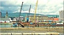 J3474 : Weir and cross-harbour links, Belfast (4) by Albert Bridge