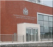 SH4862 : The main entrance to the Caernarfon Criminal Justice Centre by Eric Jones