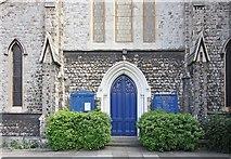 TQ3283 : Holy Trinity Church, Shepherdess Walk, Hoxton, London N1 - West doorway by John Salmon