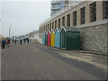 SZ1191 : Boscombe, beach huts by Mike Faherty