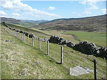 NN9963 : Fence and dilapidated dry stone wall by Russel Wills