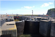 ST1972 : Lock gates on Cardiff Bay barrage by Roger Davies
