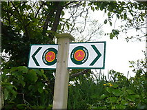 SC3278 : Millennium Way sign near St. Runius Church, Marown by Phil Catterall