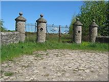 NZ2322 : Unused gates  rear of  Redworth Hall by peter robinson