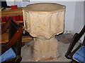 TM1659 : Font of St Catherine's Church, Pettaugh by Adrian Cable