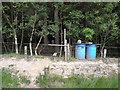 NY9888 : Pheasant feeders in Catcherside Plantation by Oliver Dixon