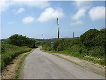 SH3286 : The Llanfaethlu road east of Gaerwen Farm by Eric Jones