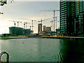SJ8097 : Media-City rising over Huron Basin, Salford Quays by Geoff Royle