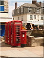 SZ0378 : Swanage: postbox № BH19 229 and phones, Institute Road by Chris Downer