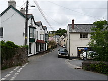 SS6644 : Ley's Lane leading into Parracombe with the Fox and Goose public house on the left. by Roger A Smith