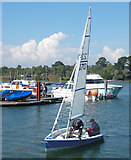 SZ3394 : Dinghy approaching the slipway by Andy F