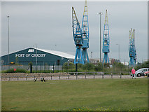 ST1973 : Cranes and Sheds at Queen Alexandra Dock by Keith Edkins