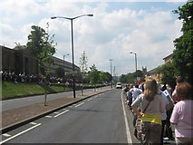TQ7568 : Dock Road, Chatham - Closed for Armed Forces Day Parade by David Anstiss