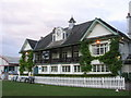 ST5676 : Cricket pavilion, Coombe Dingle sports complex by Virginia Knight