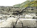 NX8552 : Carboniferous Strata near the North Solway Fault by Anne Burgess