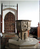 TM1994 : St Mary's church - C15 baptismal font by Evelyn Simak