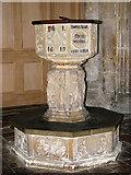 TM0890 : St Martin's Church - baptismal font by Evelyn Simak