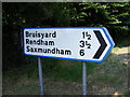 TM3268 : Roadsign to Bruisyard by Adrian Cable