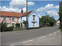 TM0386 : Cottages on Banham Road by Evelyn Simak