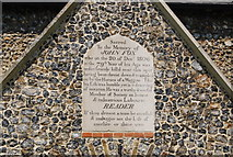 TG1807 : Memorial Stone over the door of St Andrew's Church, Colney by N Chadwick