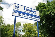 J2766 : Sign, Lambeg station by Albert Bridge
