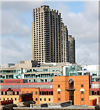 TQ3282 : Barbican towers seen across the rooftops from City Road, London by Andy F