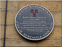 NZ2564 : Blue plaque, Saint Andrew's Church by Roger Smith