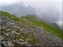 SH6359 : Ridge path, above Cwm Clyd by Roger Cornfoot