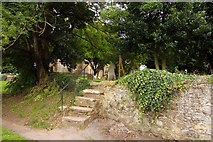 SP7006 : Steps up the wall into St Mary's churchyard by Steve Daniels
