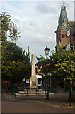 SK0418 : Rugeley town centre & War Memorial by Row17