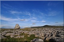 SD7176 : Scales moor: erratic boulder and Ingleborough by Mike Green