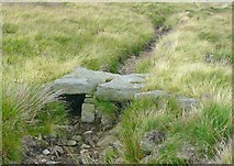 SD9922 : Stone slab bridge, Higher House Moor, Mytholmroyd by Humphrey Bolton
