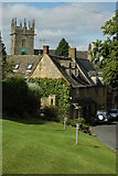 SP1729 : Cottages and church, Longborough by Philip Halling