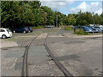 NS3975 : Railway tracks at former distillery site by Lairich Rig