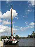 TG3802 : The trading wherry 'Maud' on the River Yare by Evelyn Simak