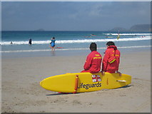 SW3526 : RNLI lifeguards on the beach at Sennen Cove by Rod Allday