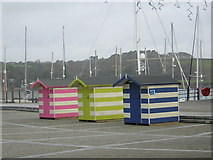 SW8132 : Beach Huts at Falmouth Maritime Museum by Barrie Cann