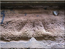 SJ3464 : 1GL bench mark and bolt on St Mary's church tower by John S Turner