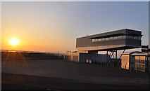 ST1972 : Sunrise and the barrage control room  - Cardiff Bay by Mick Lobb