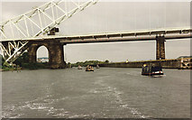 SJ5183 : The Widnes - Runcorn Bridges from the Manchester Ship Canal by David Long