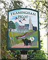 TG2703 : Framingham Pigot - village sign by Evelyn Simak