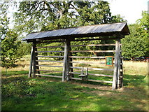 SU5598 : A Kozolec, a Slovenian hay rack at Harcourt Arboretum, Nuneham Courtenay by Sally Allsop